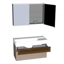 Burgbad Yumo Set 1020 mit Glaselement und Waschtischbeleuchtung PG1 (SFLA102)