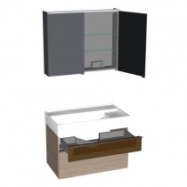 Burgbad Yumo Set 820 mit LED-Waschtischbeleuchtung und Glaselement PG1 (SFLA082)