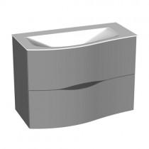 Burgbad Sinea 2.0 Mineralguss-Waschtisch inkl. Waschtischunterschrank mit Griffleistenbeleuchtung 910 (SFHA091) PG1