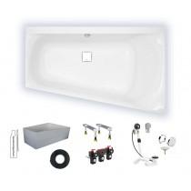 Wannenset Hoesch Badewanne Thasos Trapez 1750x1100 rechts