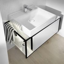Burgbad Junit Keramik-Aufsatzwaschtisch inkl. Waschtischunterschrank 765 mit LED-Beleuchtung (SFKQ076)