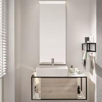 Burgbad Junit Keramik-Aufsatzwaschtisch inkl. Waschtischunterschrank 900 mit LED-Beleuchtung (SFKQ090)