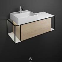 Burgbad Junit Keramik-Aufsatzwaschtisch inkl. Waschtischunterschrank 1200 mit LED-Beleuchtung (SFKQ120)