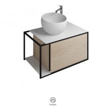 Burgbad Junit Mineralguss-Aufsatzwaschtisch inkl. Waschtischunterschrank 765 (SFKF076)
