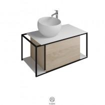 Burgbad Junit Mineralguss-Waschtisch inkl. Waschtischunterschrank 765 (SFKF090)