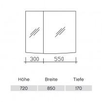 Pelipal Solitaire 9020 Spiegelschrank 850