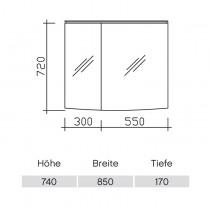 Pelipal Solitaire 9020 Spiegelschrank 820