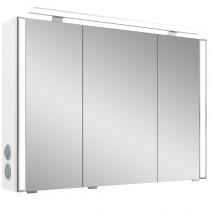 Pelipal S26 neutraler Spiegelschrank 800 mit seitlichem Lichtprofil und Aufsatzleuchte