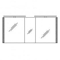 Pelipal S26 neutraler Spiegelschrank 1500 mit seitlichem Lichtprofil und Aufsatzleuchte