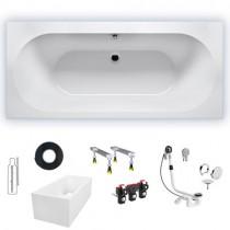Wannenset Riho Rechteck-Badewanne Carolina 170x80 cm / weiß