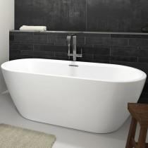 Riho Freistehende Badewanne INSPIRE 180x80 cm, freistehend weiß, inkl. Riho Fall chrom
