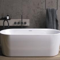 Riho Modesty Freistehende Badewanne 1700x750 mm, freistehend weiß, inkl. Riho Fall chrom