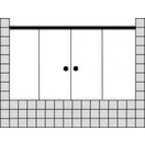 Sprinz Tansa Schiebetüren Badewannenabtrennung mit Festfeldern ESG kristall hell, 2000x2000 mm, schwarz matt TA492.2SM